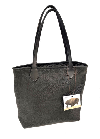 #4650 Slim Tote  in Black Cobblestone American Bison