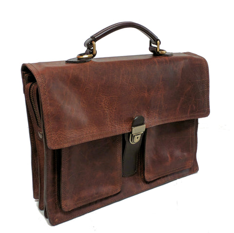 5500 Briefcase - Italian Style in American Buffalo - Bison - Distressed look