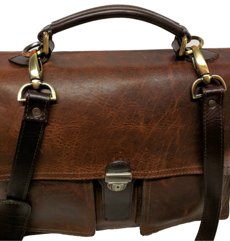5500 Briefcase in American Buffalo with custom antique brass hardware