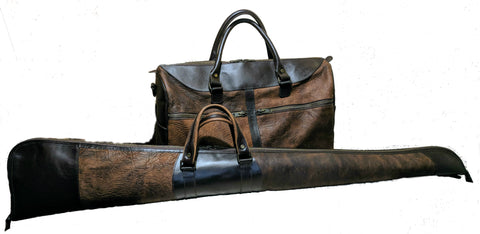 5514 Duffel & 900 Shotgun Case in American Buffalo (Bison) combined with American Bridle Leather
