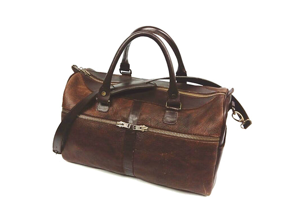 # 5515) Small Duffel in American Buffalo (Bison) & vegetable tanned American Bridle leather