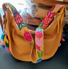Half Moon tote with cotton floral shoulder strap and embellishments