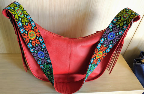 Half Moon - Leather Bags with colorful hand made beadwork from the Andes Mountains