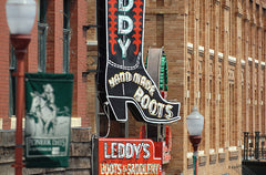 M. L. Leddy's Boots since 1922 located in the historic Fort Worth Stockyards