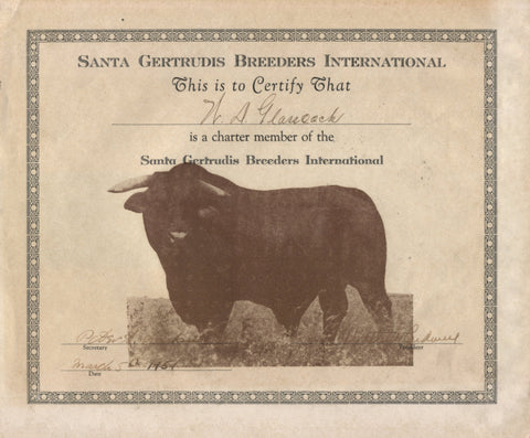 1951 Certificate for Charter Member #200 of Santa Gertrudis Breeders International