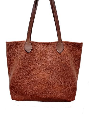 "#3000  Cinnamon ""Cibolo"" Tote - Authentic Heirloom American Bison with snap closure.  Dimensions: 13.5"" H x 17"" L x 6"" D"