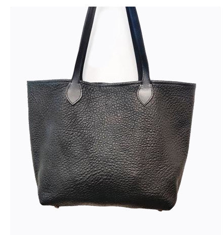 "#3000 ""Cibolo"" Large Tote Bag - Heirloom American Bison Collection.  Color: Black Cobblestone. Dimensions: 13.5"" H x 17"" L x 6"" D"