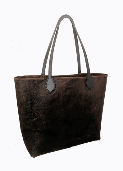 "#3000 ""Cibolo"" Comanche Brown.Heirloom  American Bison Large Tote, Snap Closure.  Dimensions: 13.5"" H x 17"" L x 6"" D"