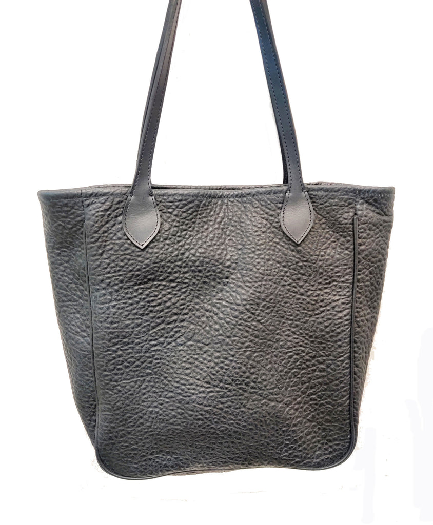 "#3500  Cibolo American Bison medium tote  with Gussets , Piping and YKK zip closure. Color: Black Cobblestone. Dimensions: 12.5 "" H x 15"" L x 4"" D"