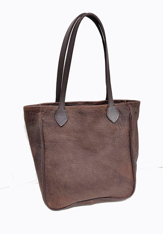 "#3500 Comanche Brown American Bison Medium Tote  Features Gussets and American Bridle Leather Piping (Welting Cord)   Dimensions:12.5"" H x 15"" W x 4"" D"""