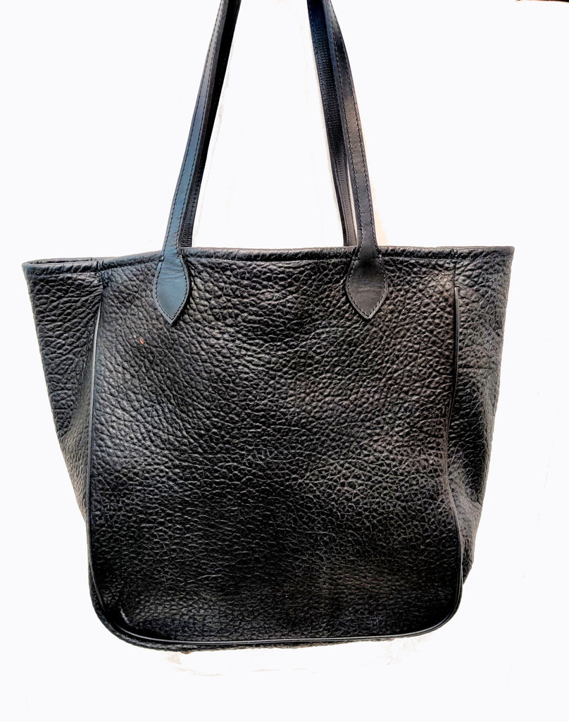 "3514 Large Tote - American Bison - Color:Black Cobblestone with Gussets, Piping. Dimensions: 14"" H x 17"" L x 5"" D"