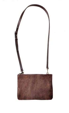 "#3745 ""Cibolo"" Cross Body in American Bison. Color: ""Comanche"" Brown 2 exterior zip compartments. Dimensions: 8"" H x 12 "" L x 2"" D"