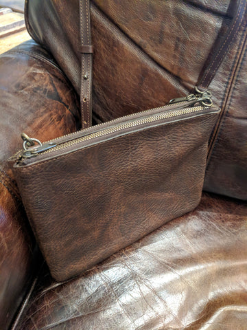 "#3745 ""Cibolo"" Crossbody Bag (small) 2 compartments - Heirloom American Buffalo (Bison) Collection"