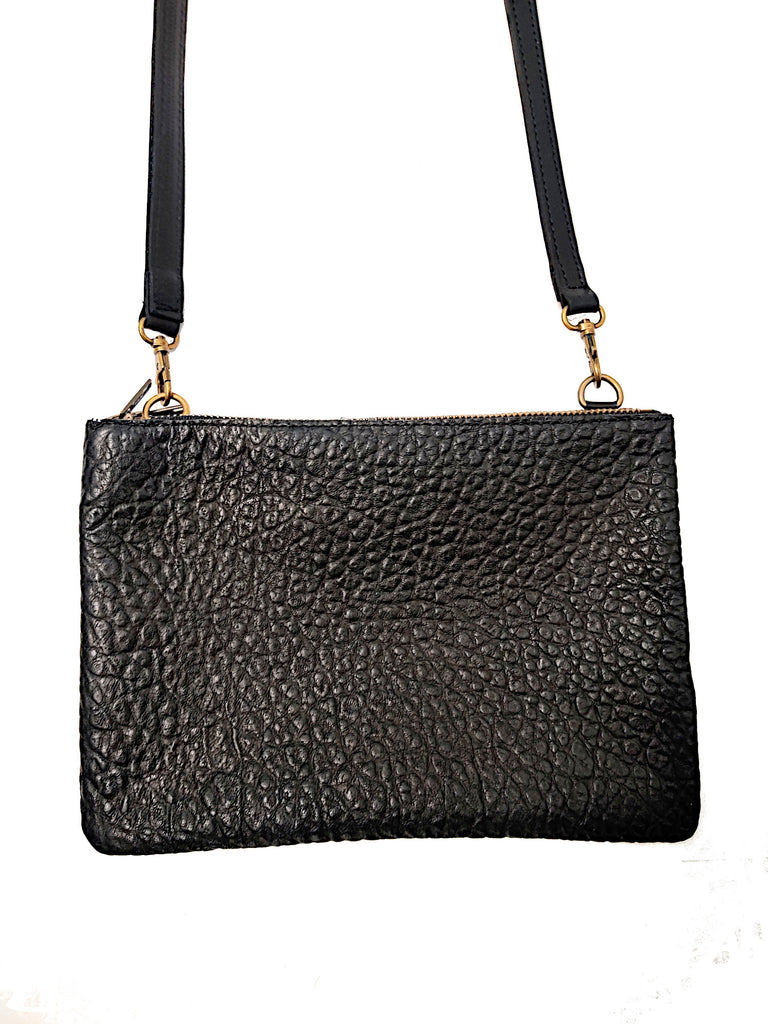 "#3745 ""Cibolo"" Cross Body American Bison. Color Black ""Cobblestone"" 2 exterior zip compartments with slide in area between the 2 compartments - Dimensions: 8"" H x 12 "" L x 2"" D"