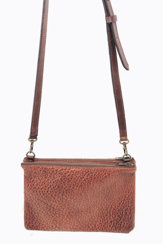 "#3745 ""Cibolo"" Cross Body American Bison. Color Cinnamon ""Cobblestone"" 2 exterior zip compartments with slide in area between the 2 compartments - Dimensions: 8"" H x 12 "" L x 2"" D"