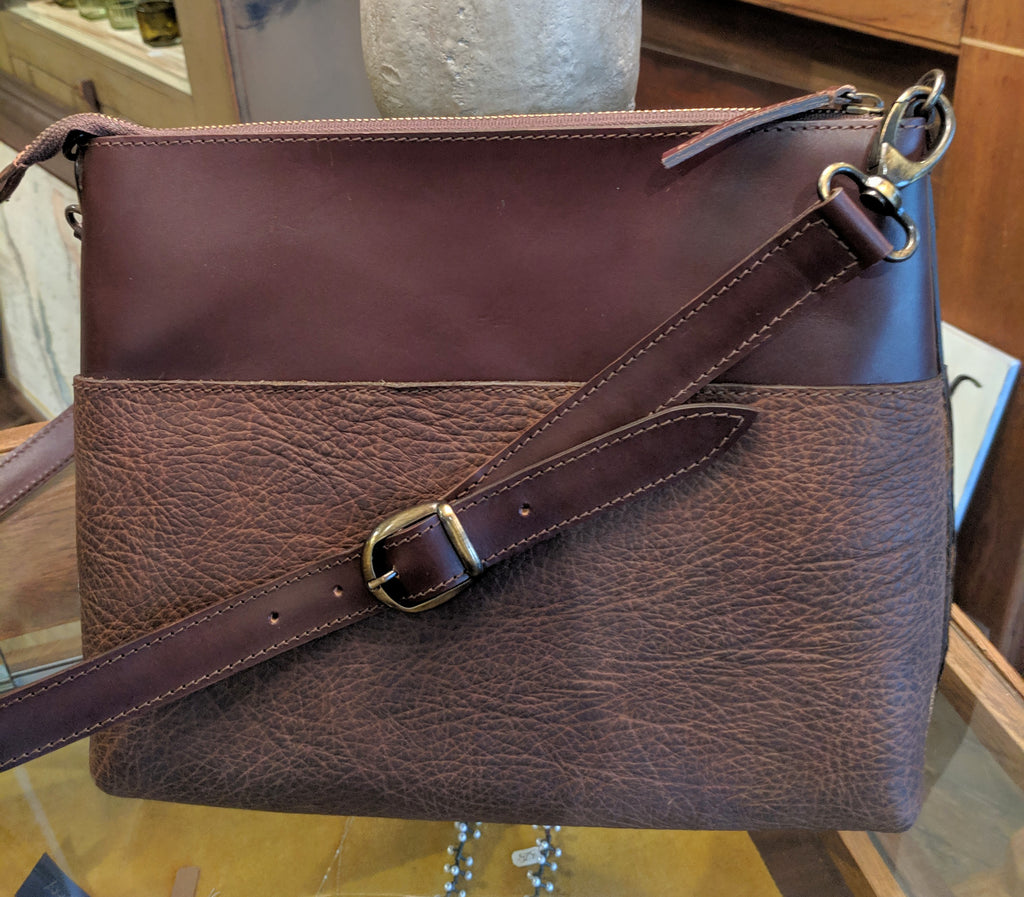 "#3800 ""Cibolo"" Crossbody Bag (Large) - Heirloom American Buffalo (Bison) Collection"