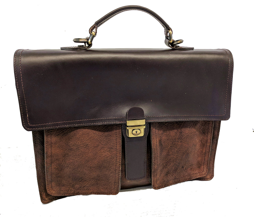 #5500  Italian Style Briefcase in American Buffalo (Bison) Available February 2019