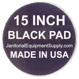 15 inch Black Pad | Stripping Scrubbing Pads - 5 pack
