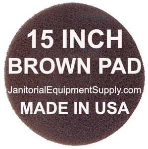 15 inch Brown Pad | Scrubbing Cleaning Pads - 5 pack