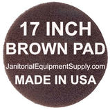 17 inch Brown Pad | Scrubbing Cleaning Pads - 5 pack