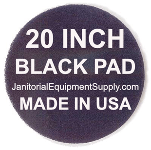 20 inch Black Pad | Stripping Scrubbing Pads - 5 pack