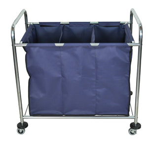 Laundry Cart on Wheels with 3 Sections