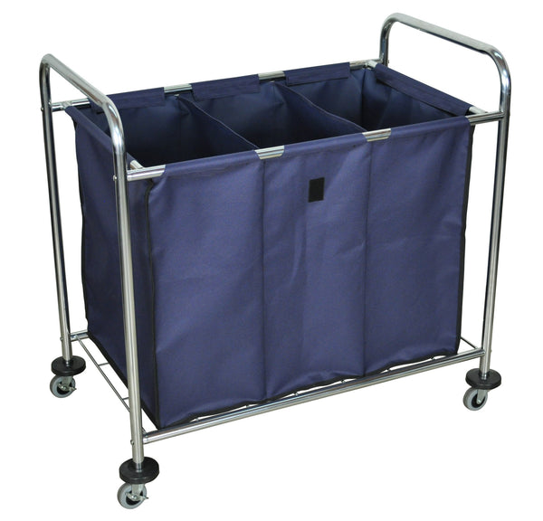 Laundry Cart On Wheels With 3 Sections Janitorial Equipment Supply