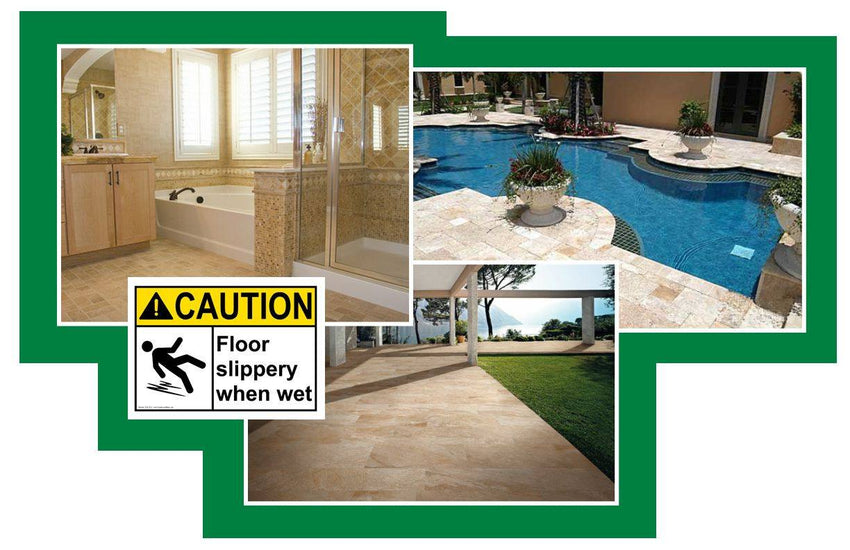 Use SlipSafe Tile™ on Tile, Concrete and Any Natural Stone