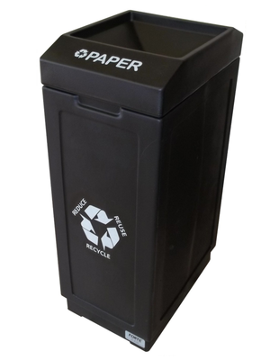 FORTE® 8001843 | Black 39 Gallon Paper Recycle Bin