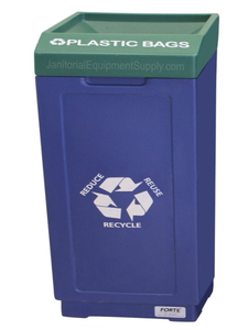 FORTE® 8002476 | Blue / Green 39 Gallon Plastic Bags Recycle Bin