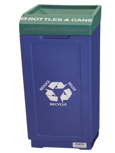 FORTE® 8002477 | Blue / Green 39 Gallon Bottles & Cans Recycle Bin