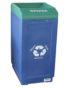 FORTE® 8002478 | Blue / Green 39 Gallon Paper Recycle Bin
