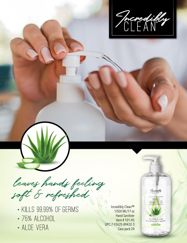 Incredibly Clean Hand Sanitizer with Aloe Vera 24 Pack