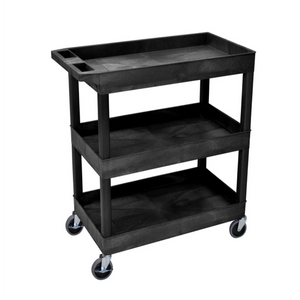 LUXOR EC111-B Black Utility Cart with 3 Tub Shelves 32