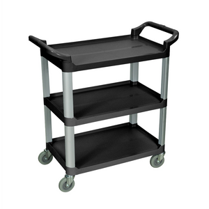 LUXOR® SC12-B 3 Shelf Food Service Cart | Black Serving Cart