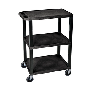 LUXOR WT34-S Plastic Utility Cart | 3 Shelve Industrial Storage Cart