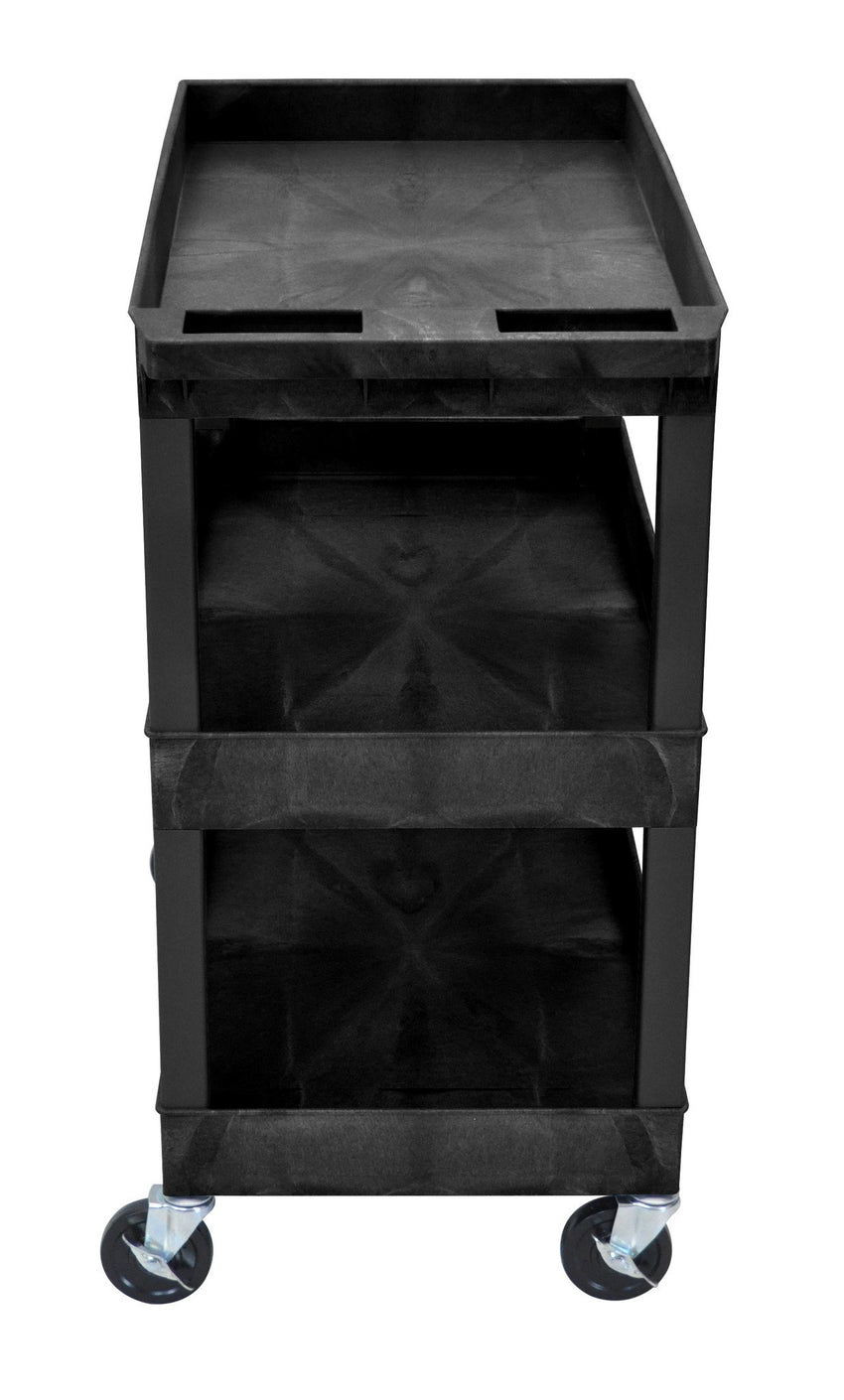 "Black Utility Cart with 3 Tub Shelves 32""W x 18""D"