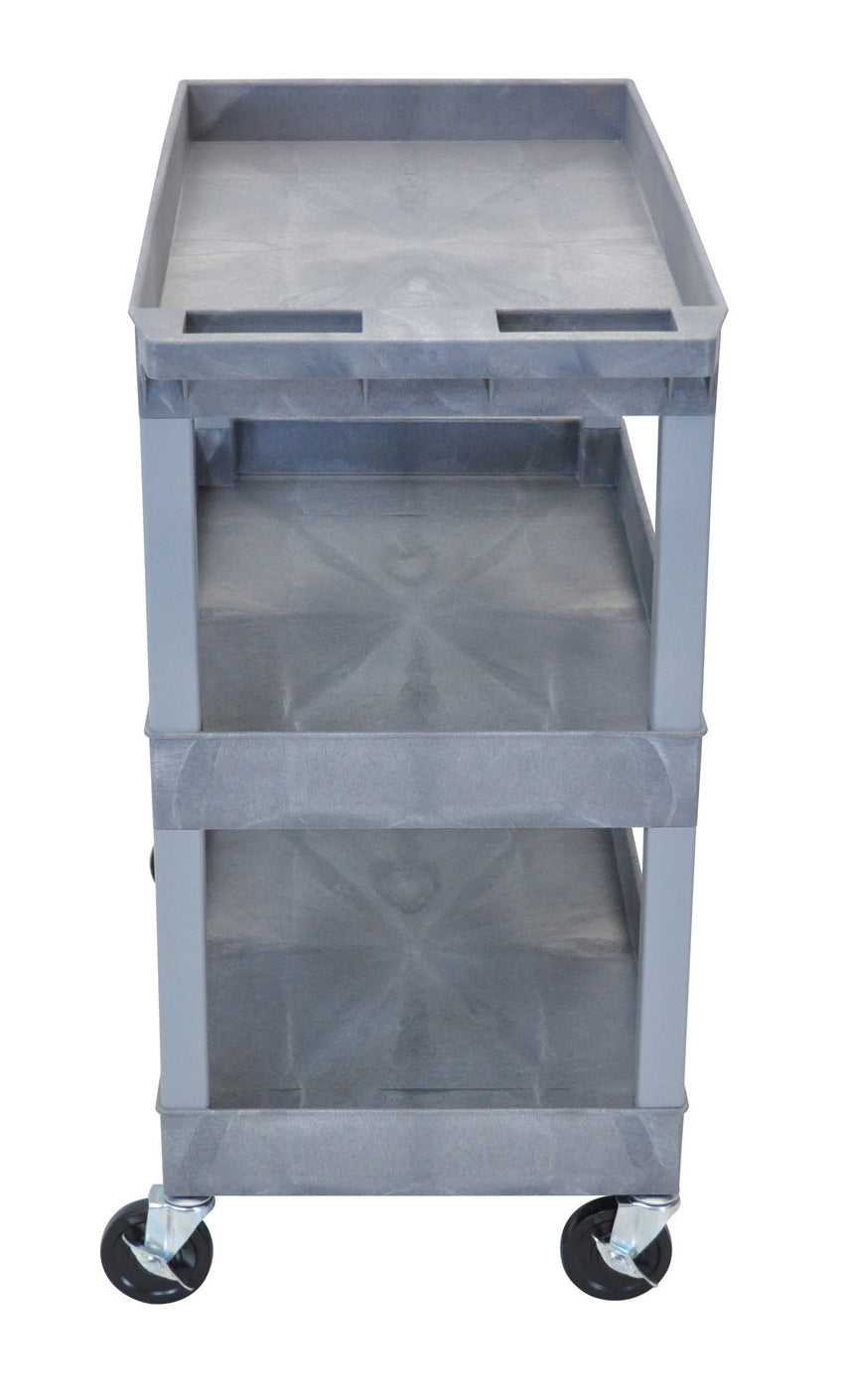 "Gray Utility Cart with 3 Tub Shelves 32""W x 18""D"