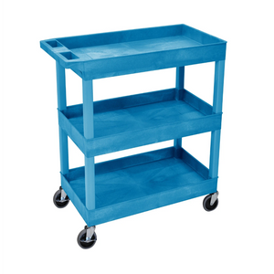 LUXOR EC111-BU Blue Utility Cart with 3 Tub Shelves 32