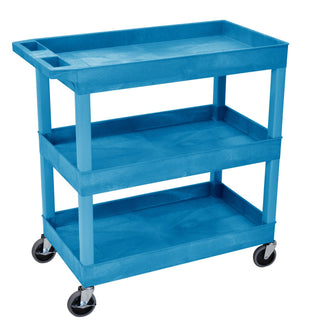 Blue Utility Cart with 3 Tub Shelves 32