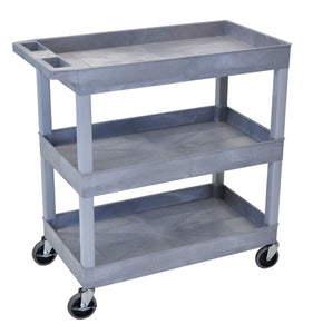 Gray Utility Cart with 3 Tub Shelves 32