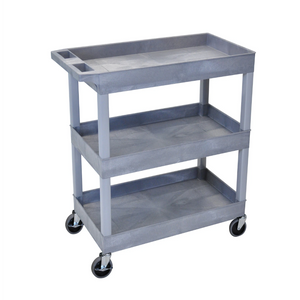 LUXOR EC111-G Gray Utility Cart with 3 Tub Shelves 32