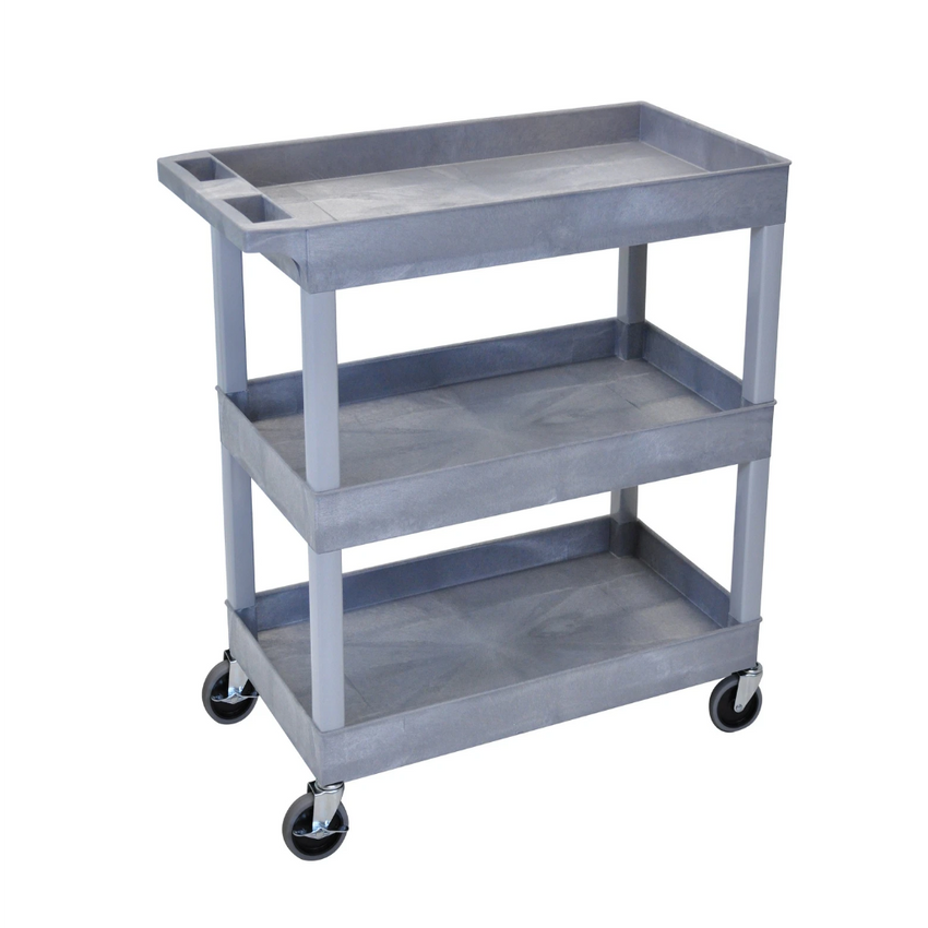 "LUXOR EC111-G Gray Utility Cart with 3 Tub Shelves 32""W x 18""D"