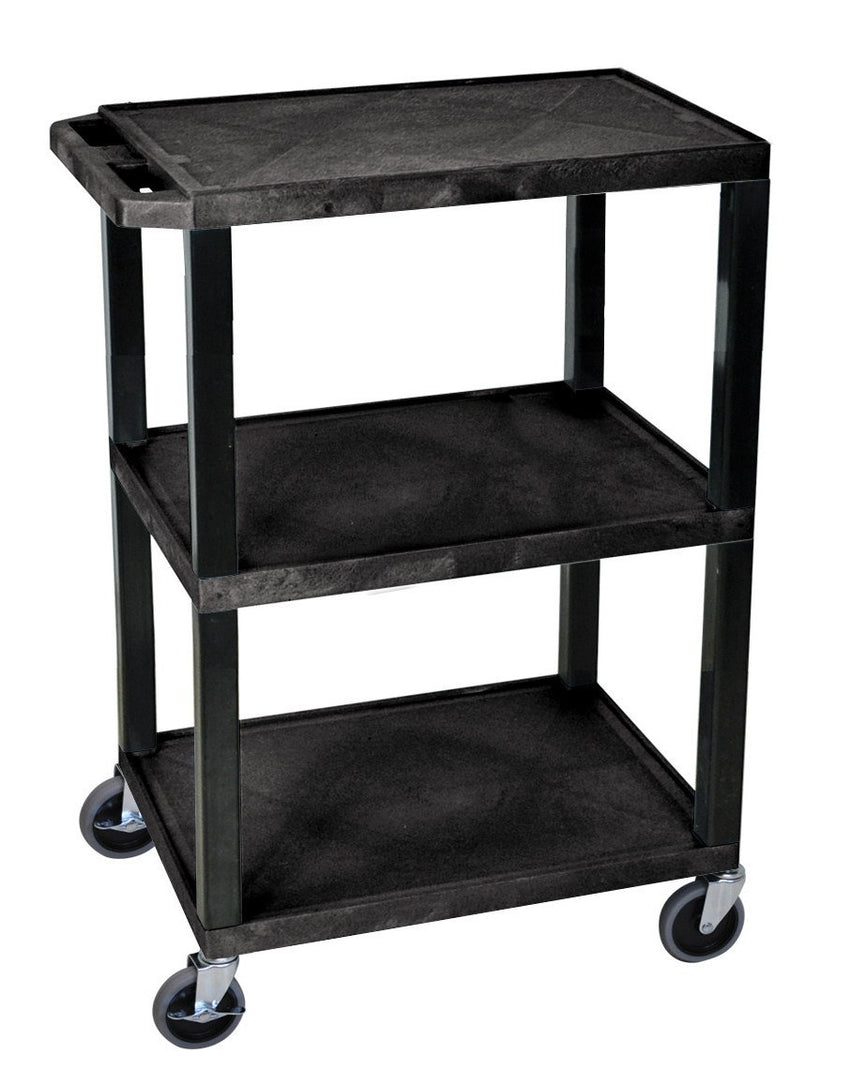 "Plastic Utility Cart | 3 Shelve Industrial Storage Cart 34""H"