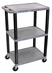 Plastic Utility Cart | 3 Shelve Industrial Storage Cart 42