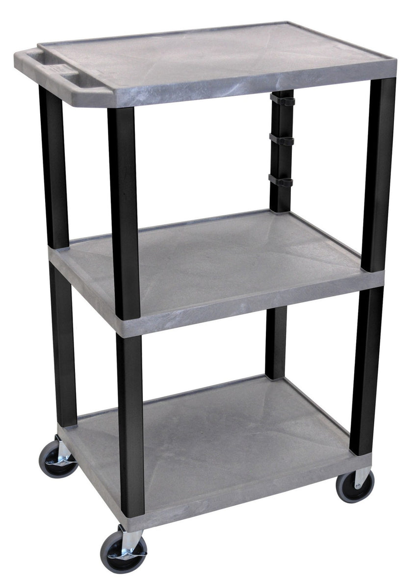 LUXOR WT42-GY Plastic Utility Cart | 3 Shelve Industrial Storage Cart