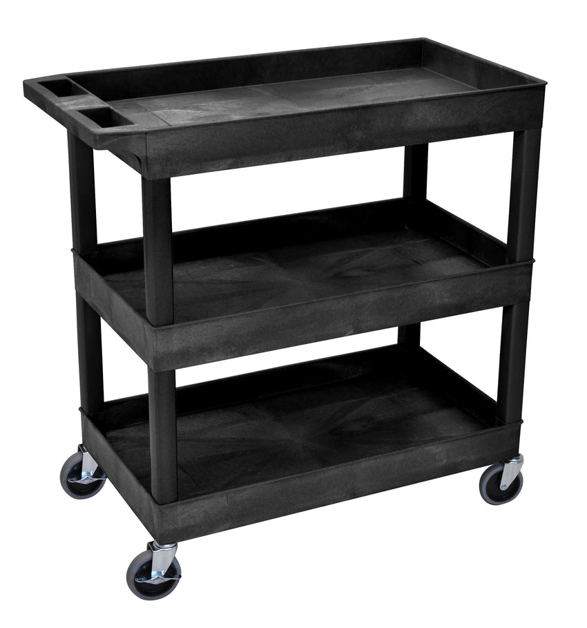 "Blue Utility Cart with 3 Tub Shelves 32""W x 18""D"
