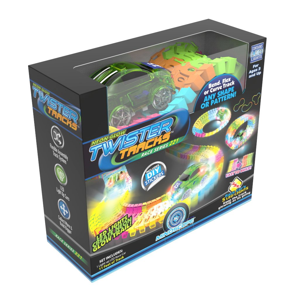 Twister Tracks 221 (11 feet) Neon Glow Track + 1 Green Race Car