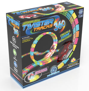 Twister Tracks 360(13feet) Neon Glow Track + 1 Red Race Car