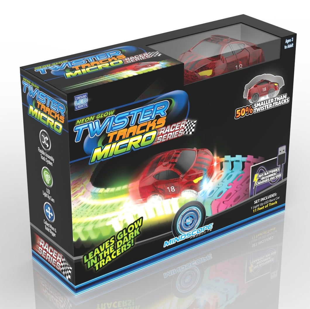 Twister Tracks Micro - Race Series, (11Feet)Neon Glow Track - Carro Recargable
